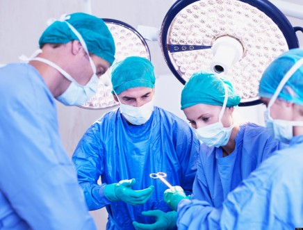 Surgeons in operating room. Image shot 2010. Exact date unknown.