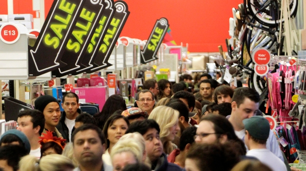 A crowd of shoppers browse at Target on Black Friday.